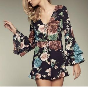 Nasty Gal Floral Lace Front Playsuit Romper